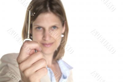 woman and key