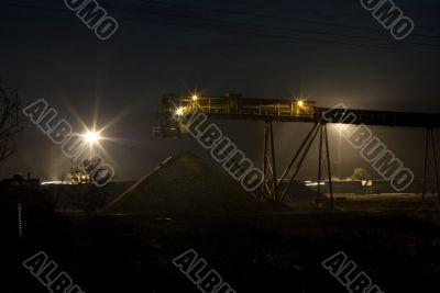 Coal Stock Pile and Conveyor at Night