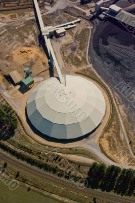 Aerial: Coal Power Station - Coal Dry Storage Shed