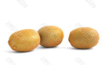 three vivid kiwi fruits on white