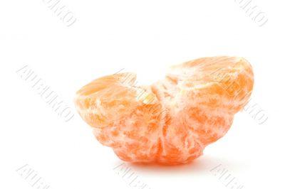 lonely peeled tangerine on white