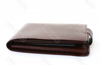 brown leather wallet on white