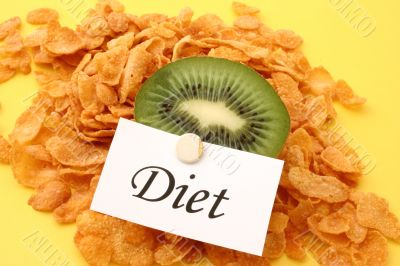 kiwi and cornflakes with a diet note