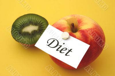 kiwi and apple with a diet note