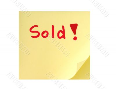 post-it note with handwritten SOLD sign