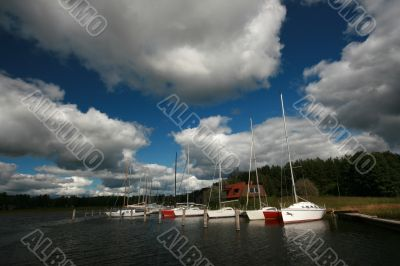 Boats on Lake in Cloudy Weather