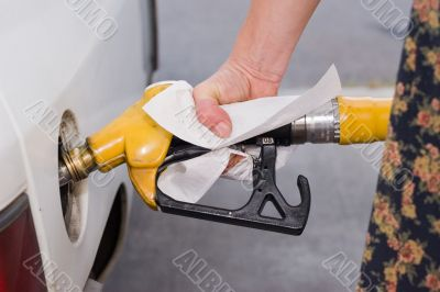 filling up tank