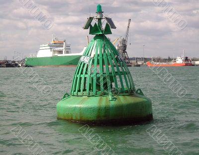 green navigation buoy