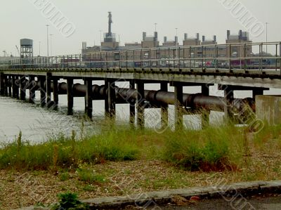 pier with pipe on a miserable day