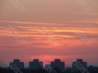 Sunset landscape scene with colorful evening sky