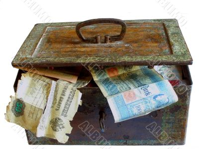 rusty chest with money