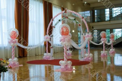 Wedding hall. Ornaments from balloons.
