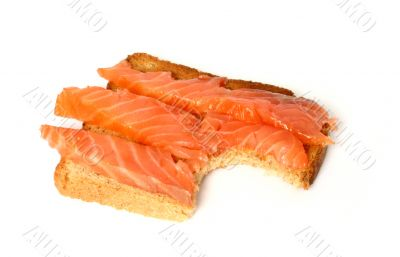 delicious toast with smoked salmon