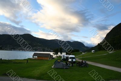 camping near norway Fjord