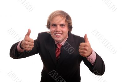 business man with thumbs up sucess