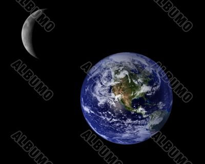 Blue Planet Earth And Crescent Moon