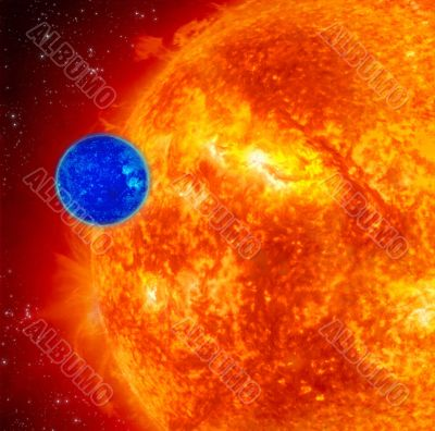 Blue Planet And Red Sun