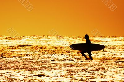 surfing and sunset