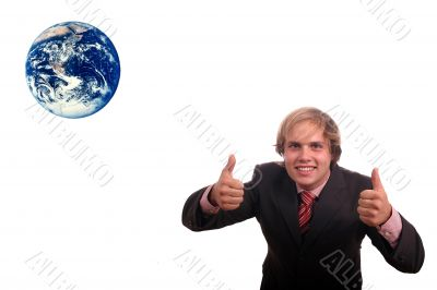 business man protect earth