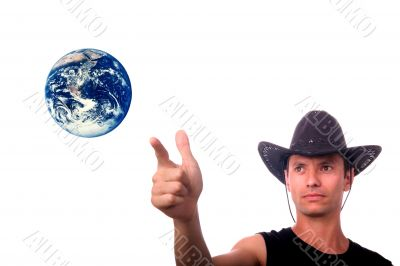 cowboy pointing earth to protect