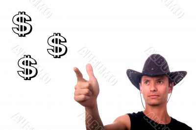cowboy businessman shooting dollars