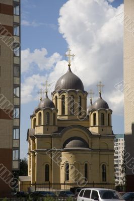 Church amids blocks of flats