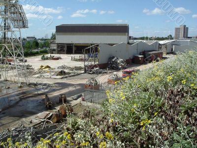 view of industrial demolition site