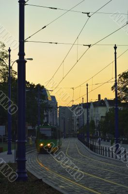 Tram at dusk; Poznan, Poland