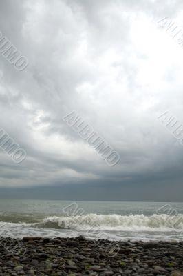 Tropical storm on Black Sea, Sochi, Russia