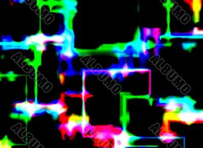 abstract of shop lights through a rainy windscreen