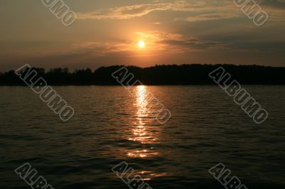 Sunset, Volga river, near Samara city