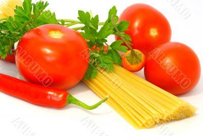 pasta, pepper and tomato