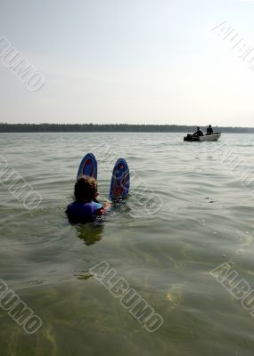 young girl ready to water ski