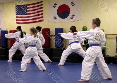 children in Tae Kwon Do class