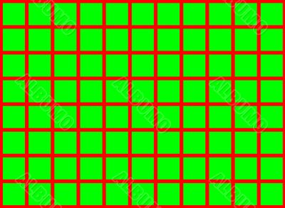 green squares on red background