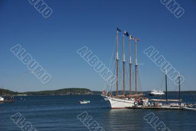 Tall ship in harbor