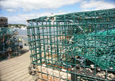 Lobster traps on wharf, harbor