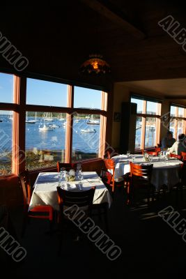 Fine dining with harbor view at sunset