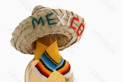 Bottle of booze with straw `mexico` hat.