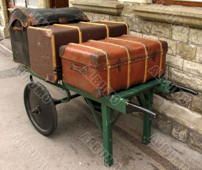 Old fashioned  luggage on trolley