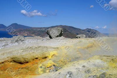 Volcano in Aeolian Islands at summer