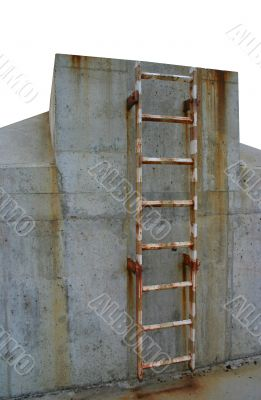 rusty ladder leading to a winner`s place