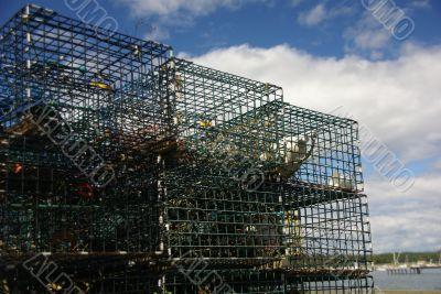 Detail, Lobster traps on wharf