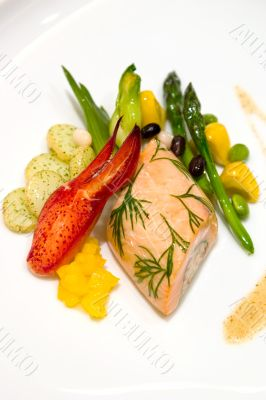 Steamed Salmon stuffed with Bok Choy