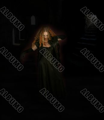 Witch dancing in monastery
