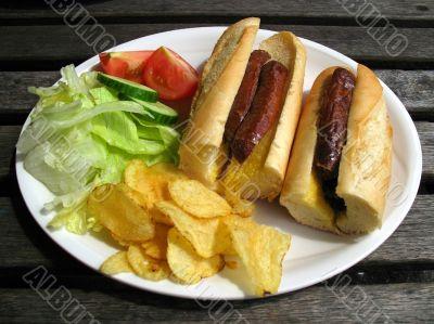 sausage baguette and salad