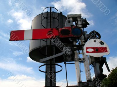 Railway signal and water bowser