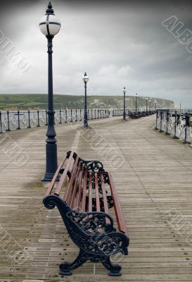 Empty pier on a grey day