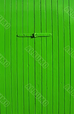 bright green wooden panel