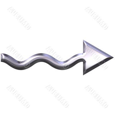 3D Silver Wavy Arrow